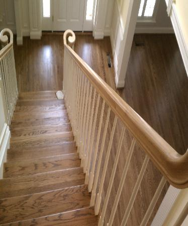 Stairs And Floor Stained With Jacobean Provincial Mix Finished Bona Traffic